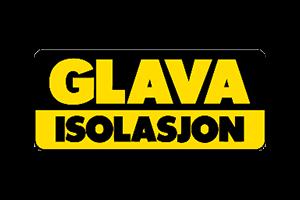 Sort og gul logo for Glava Isolasjon