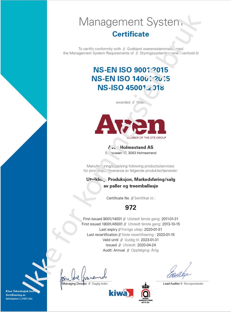 ISO sertifikat Aven Holmestrand AS